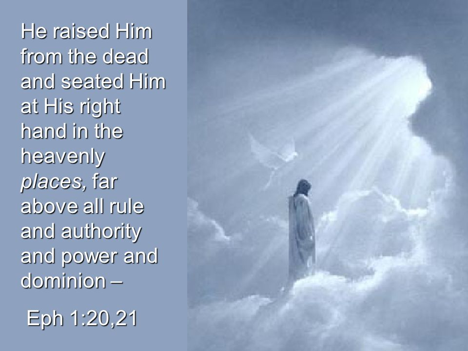 He raised Him from the dead and seated Him at His right hand in the heavenly places, far above all rule and authority and power and dominion –