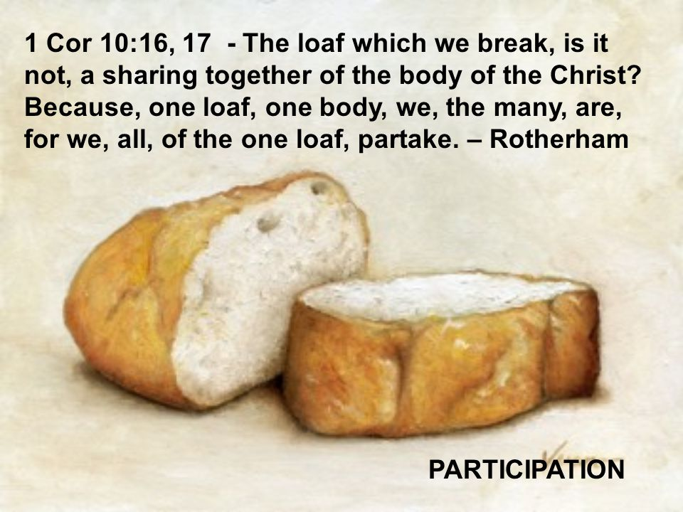 1 Cor 10:16, 17 - The loaf which we break, is it not, a sharing together of the body of the Christ Because, one loaf, one body, we, the many, are, for we, all, of the one loaf, partake. – Rotherham