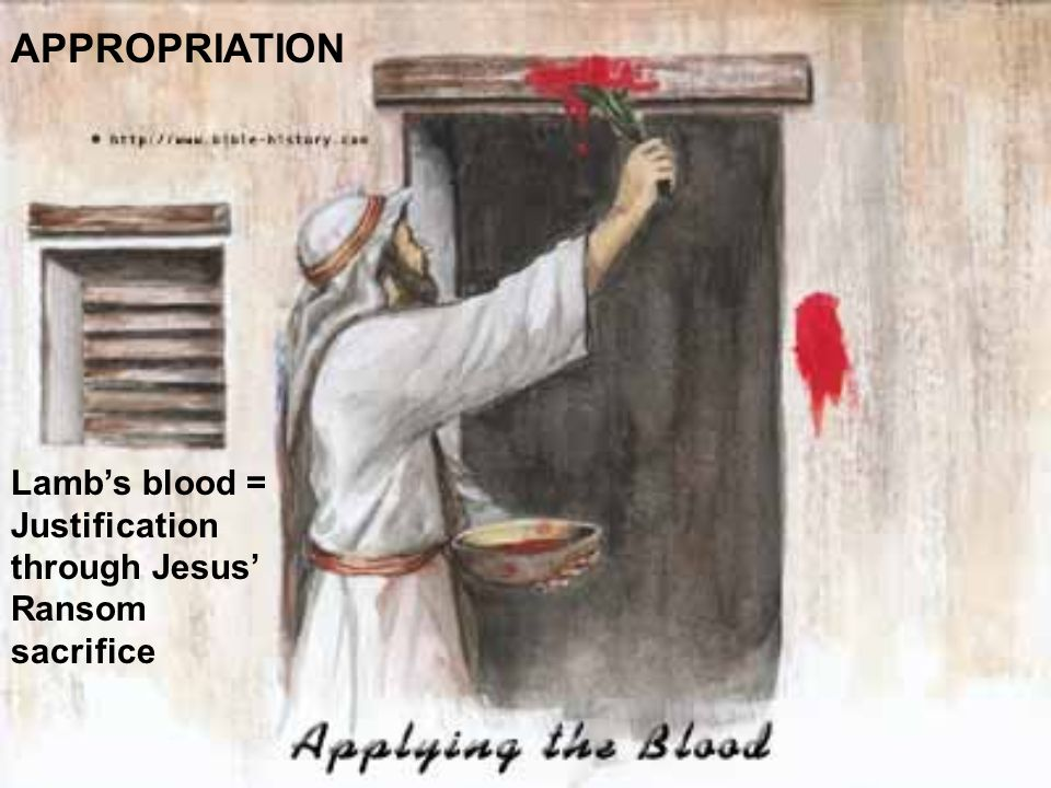 APPROPRIATION Lamb's blood = Justification through Jesus' Ransom sacrifice
