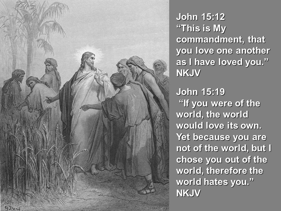 John 15:12 This is My commandment, that you love one another as I have loved you. NKJV. John 15:19.