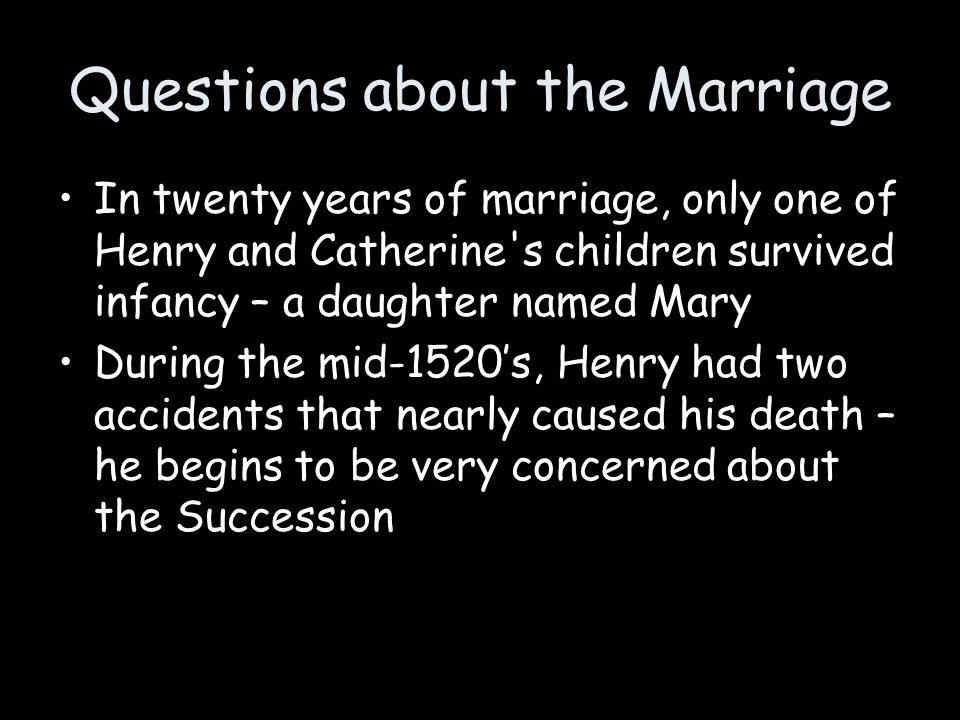 Questions about the Marriage