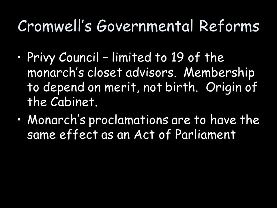 Cromwell's Governmental Reforms