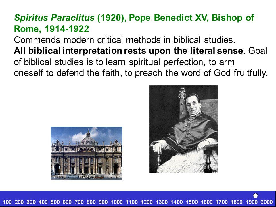 Spiritus Paraclitus (1920), Pope Benedict XV, Bishop of