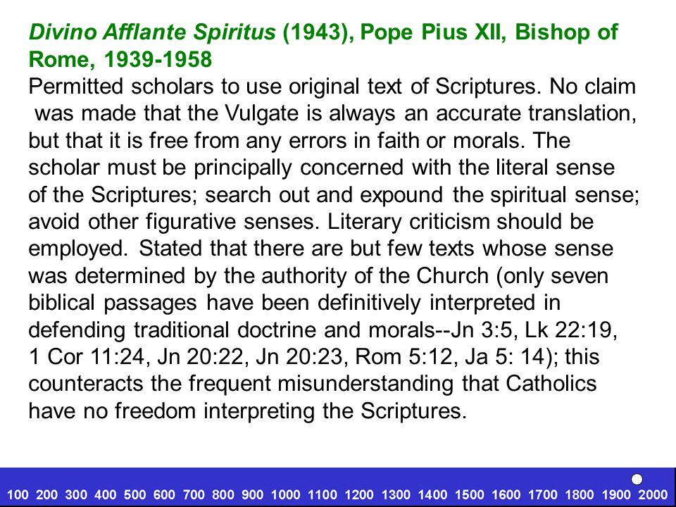 Divino Afflante Spiritus (1943), Pope Pius XII, Bishop of