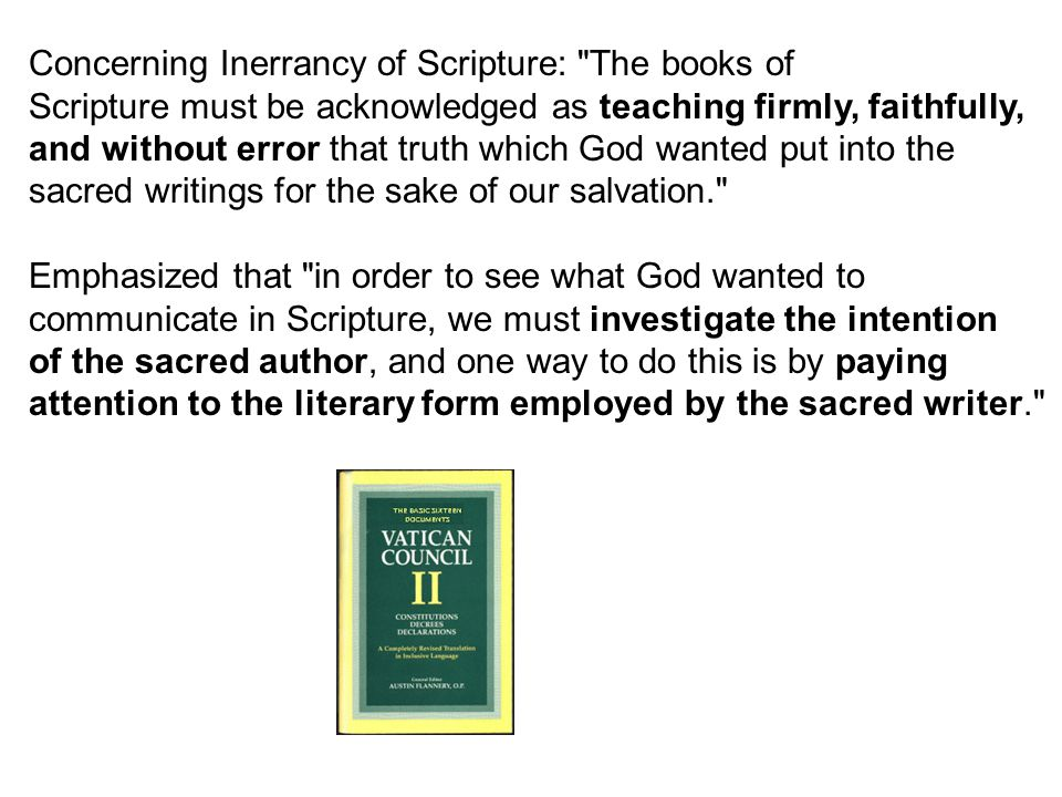 Concerning Inerrancy of Scripture: The books of