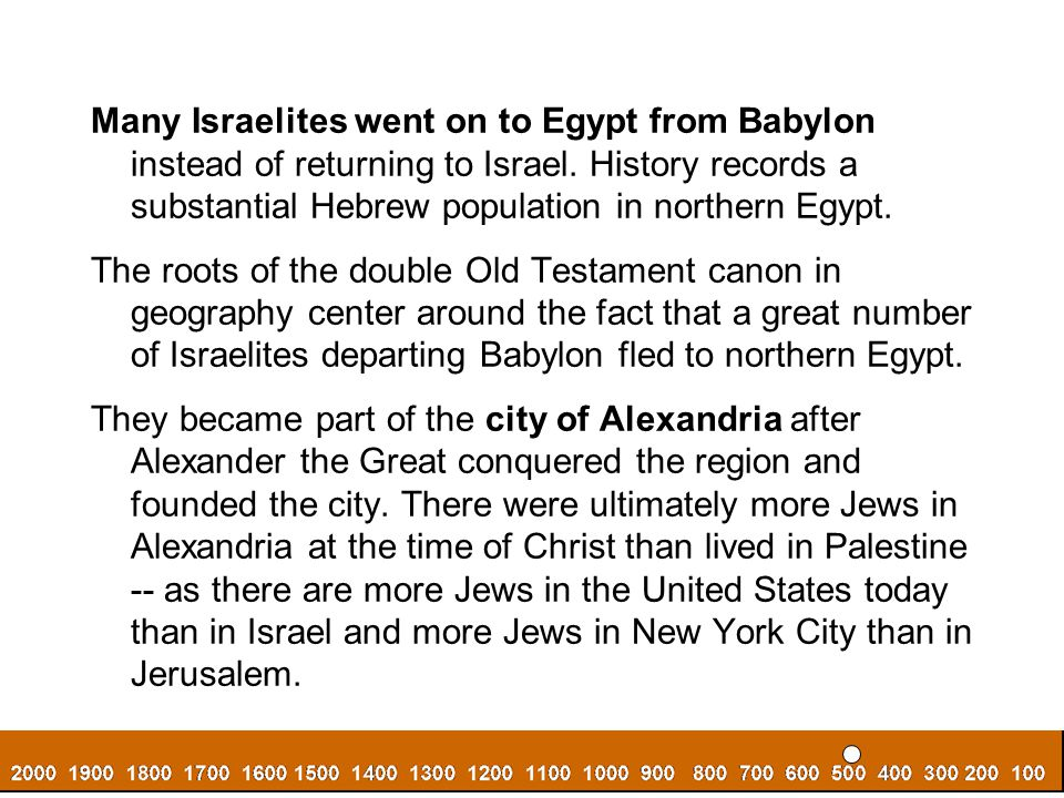 Many Israelites went on to Egypt from Babylon instead of returning to Israel. History records a substantial Hebrew population in northern Egypt.