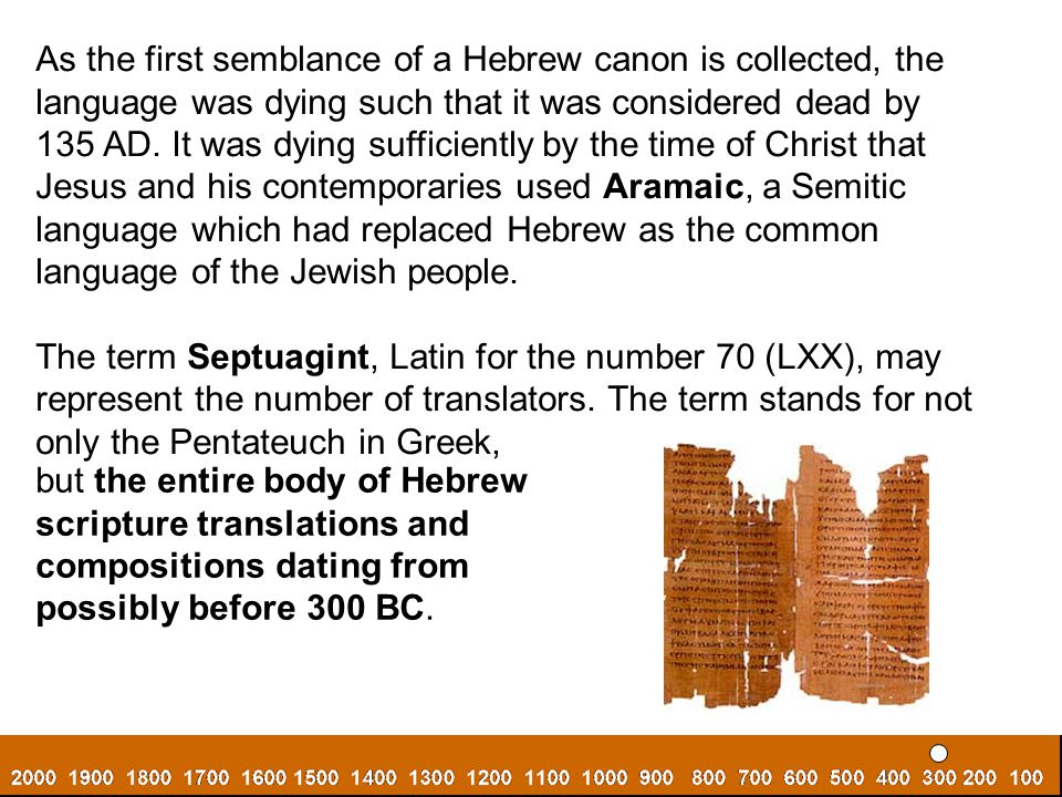 As the first semblance of a Hebrew canon is collected, the language was dying such that it was considered dead by.