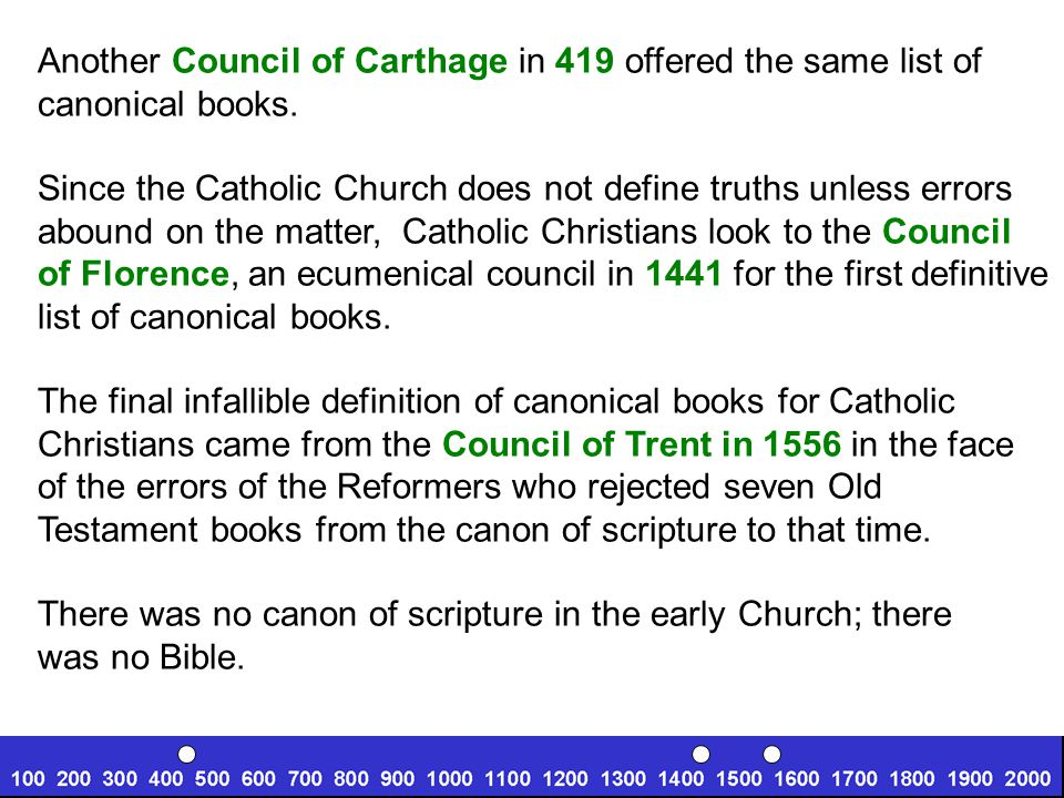 Another Council of Carthage in 419 offered the same list of