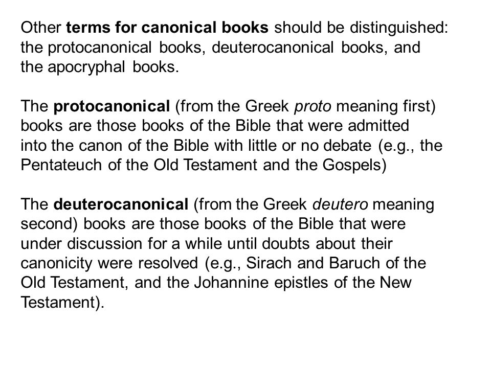 Other terms for canonical books should be distinguished: