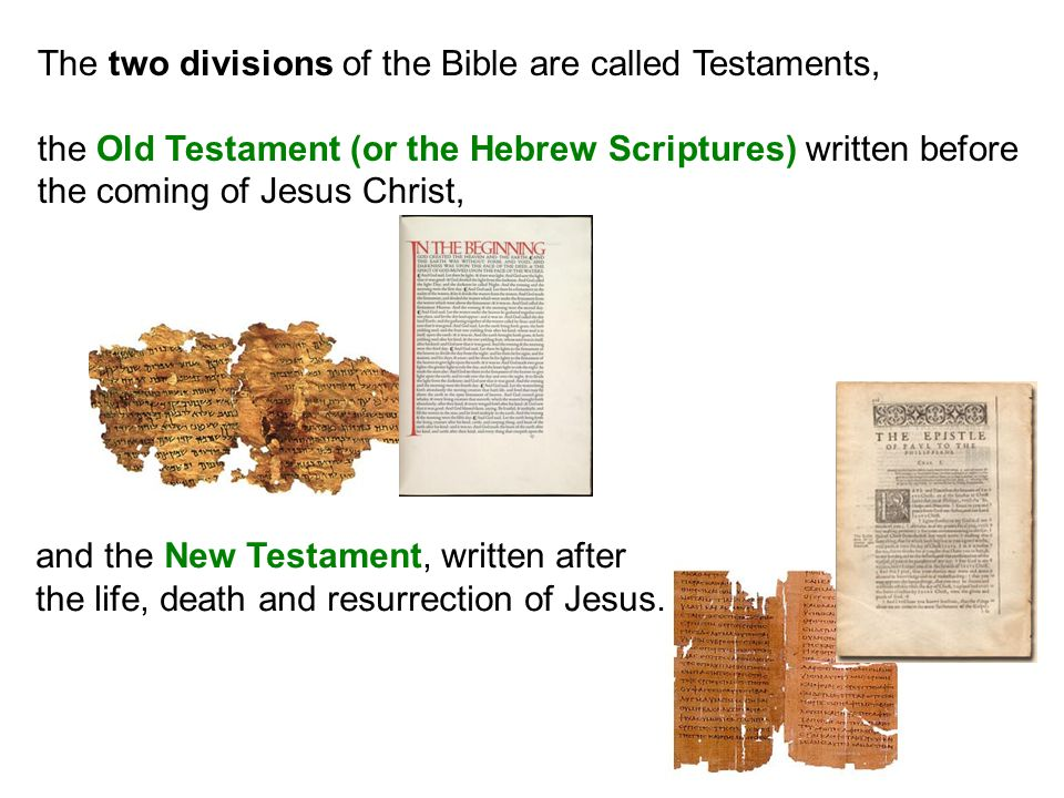 The two divisions of the Bible are called Testaments,