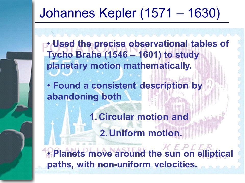 Johannes Kepler (1571 – 1630) Circular motion and Uniform motion.