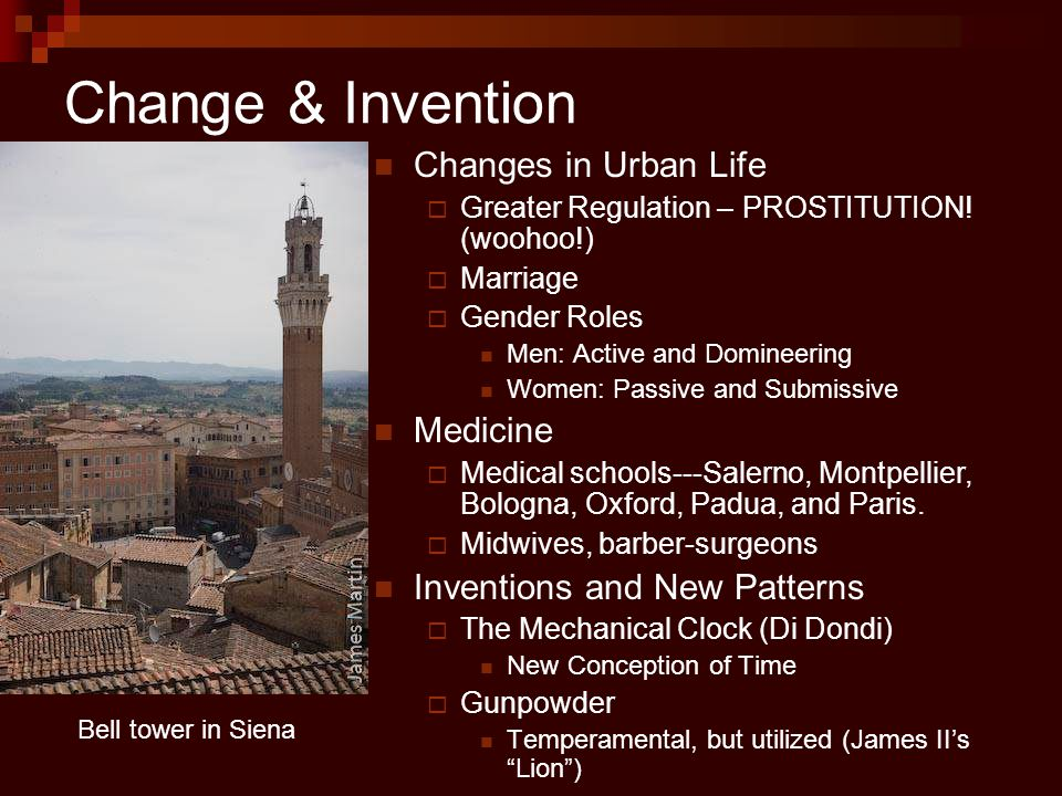 Change & Invention Changes in Urban Life Medicine