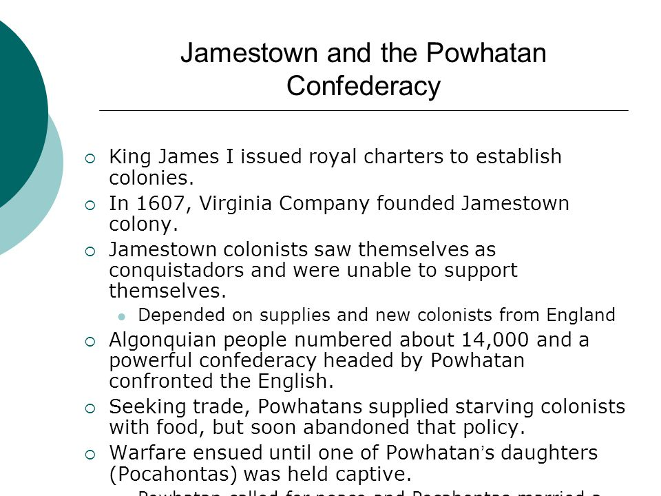 Jamestown and the Powhatan Confederacy