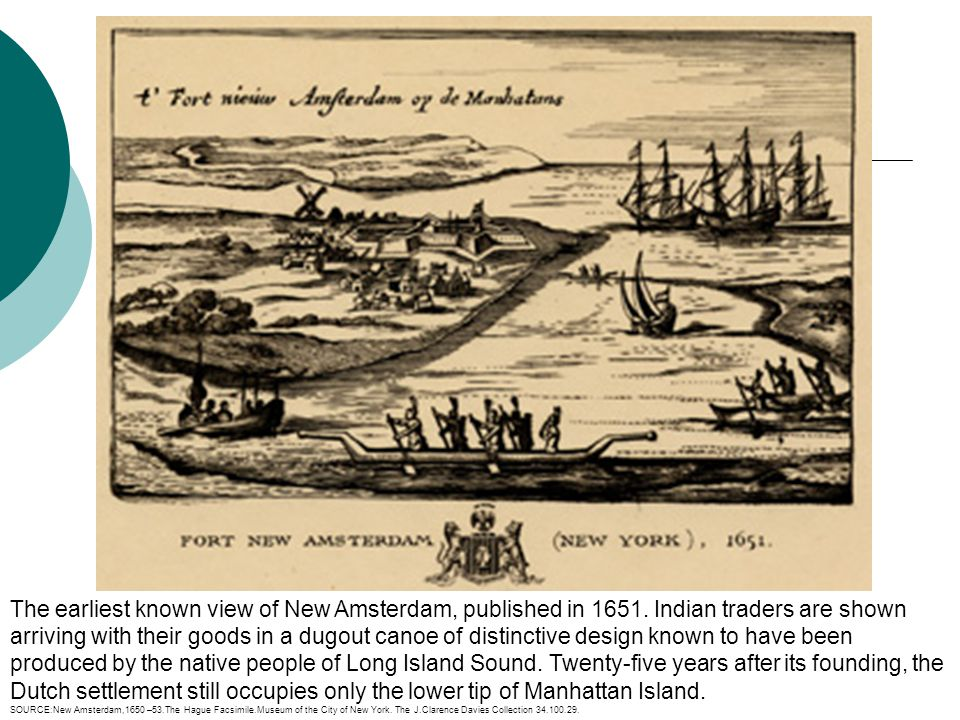 The earliest known view of New Amsterdam, published in 1651