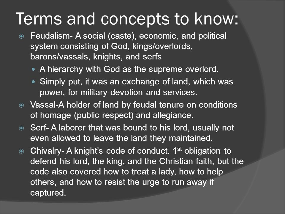 Terms and concepts to know: