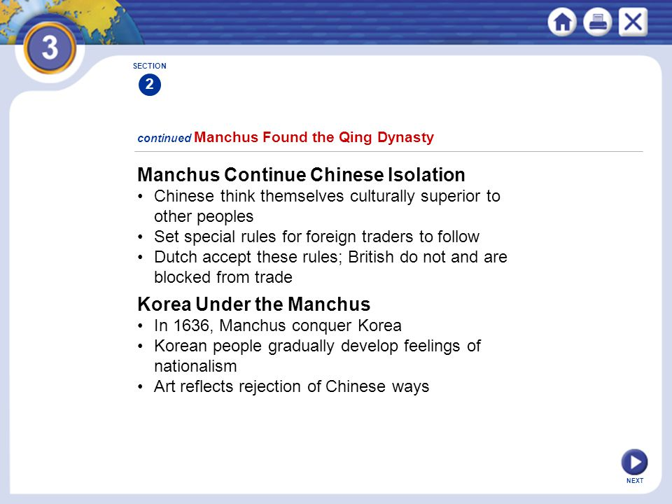 Manchus Continue Chinese Isolation