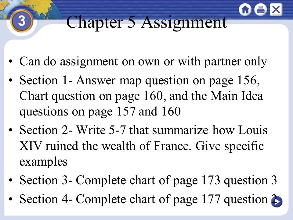 Chapter 5 Assignment Can do assignment on own or with partner only