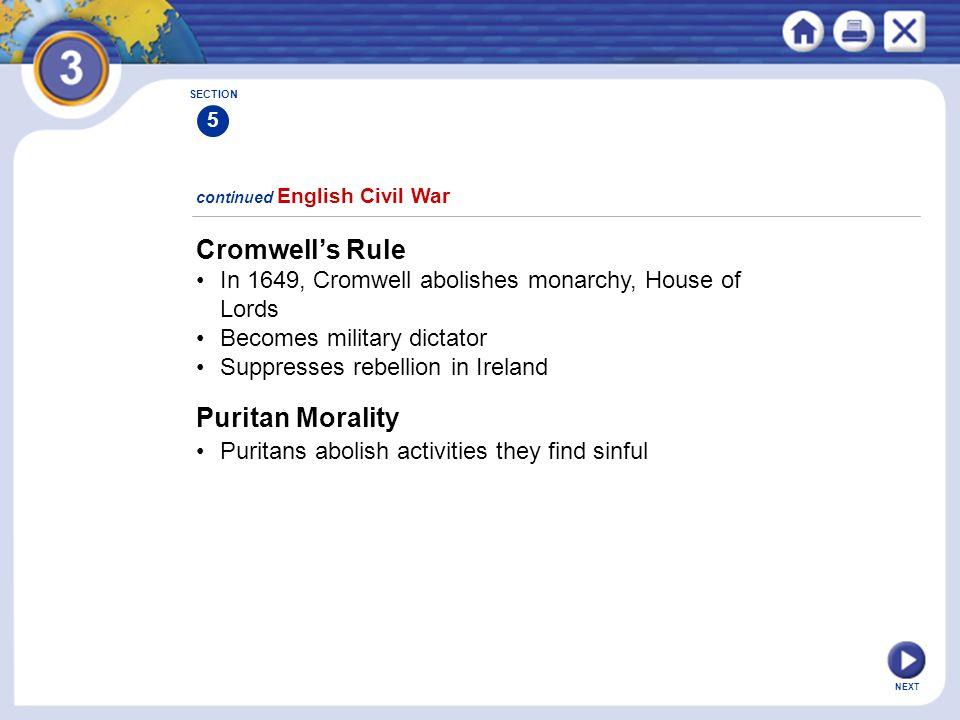 Cromwell's Rule Puritan Morality