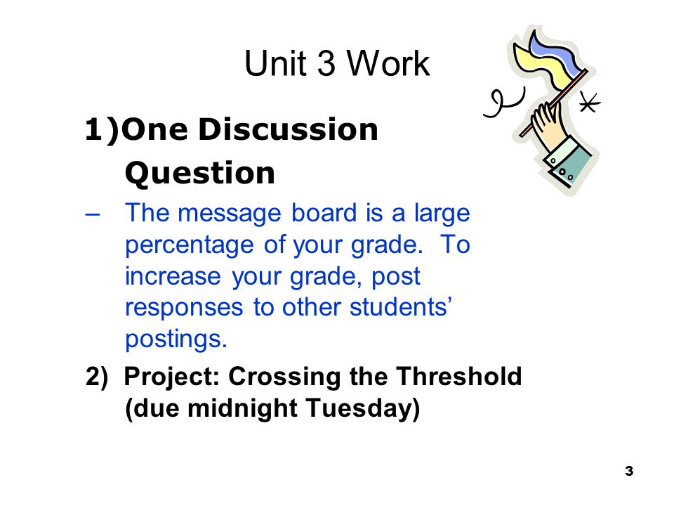 Unit 3 Work 1)One Discussion Question