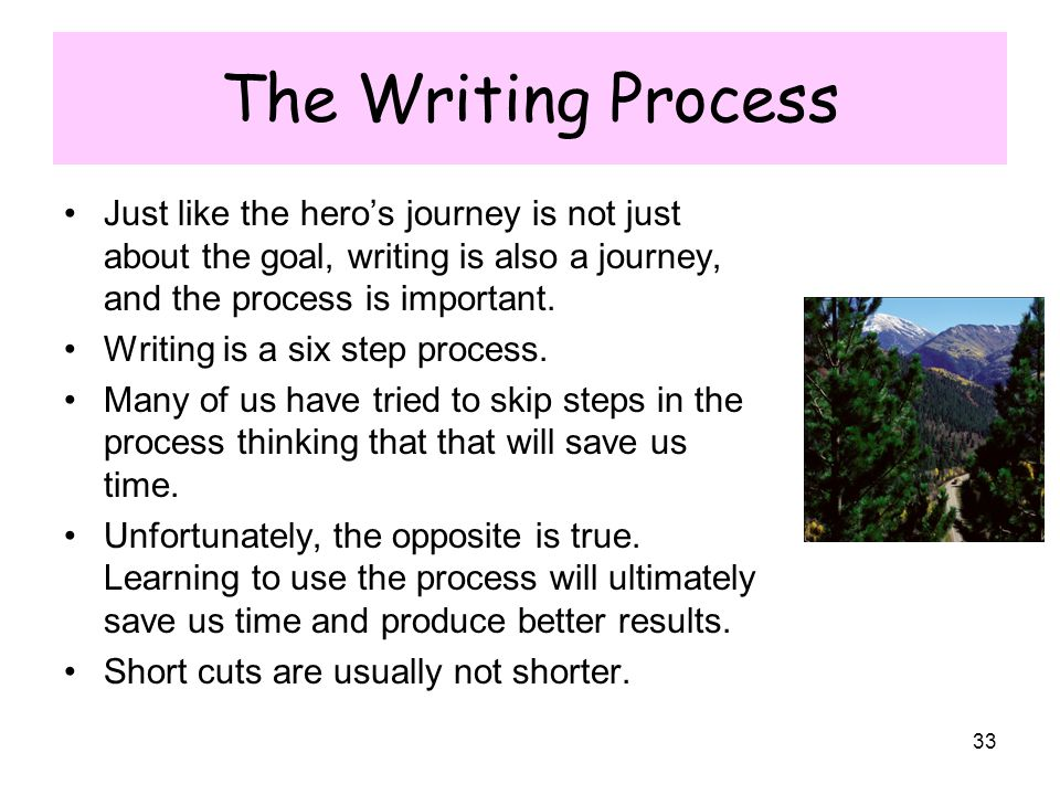 The Writing Process Just like the hero's journey is not just about the goal, writing is also a journey, and the process is important.
