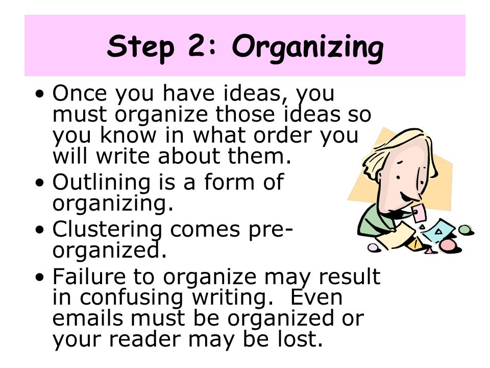 Step 2: Organizing Once you have ideas, you must organize those ideas so you know in what order you will write about them.