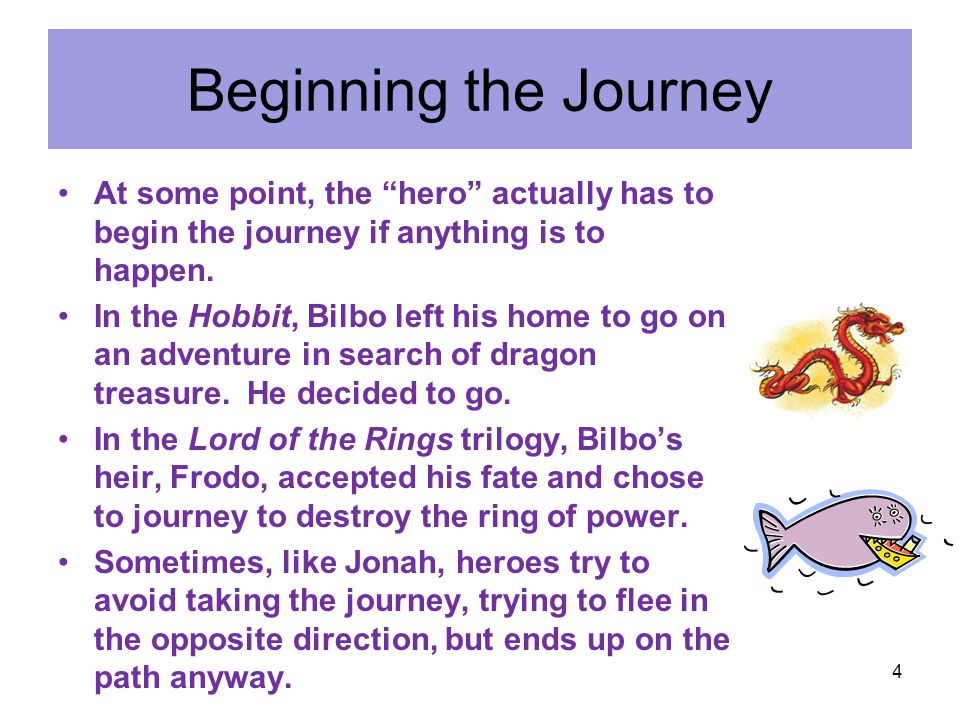 Beginning the Journey At some point, the hero actually has to begin the journey if anything is to happen.