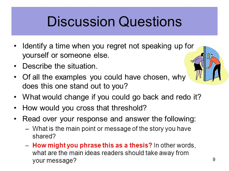 Discussion Questions Identify a time when you regret not speaking up for yourself or someone else. Describe the situation.