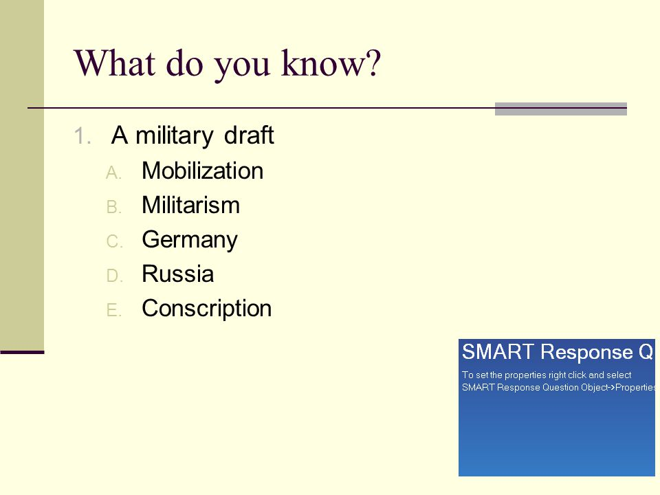 What do you know A military draft Mobilization Militarism Germany