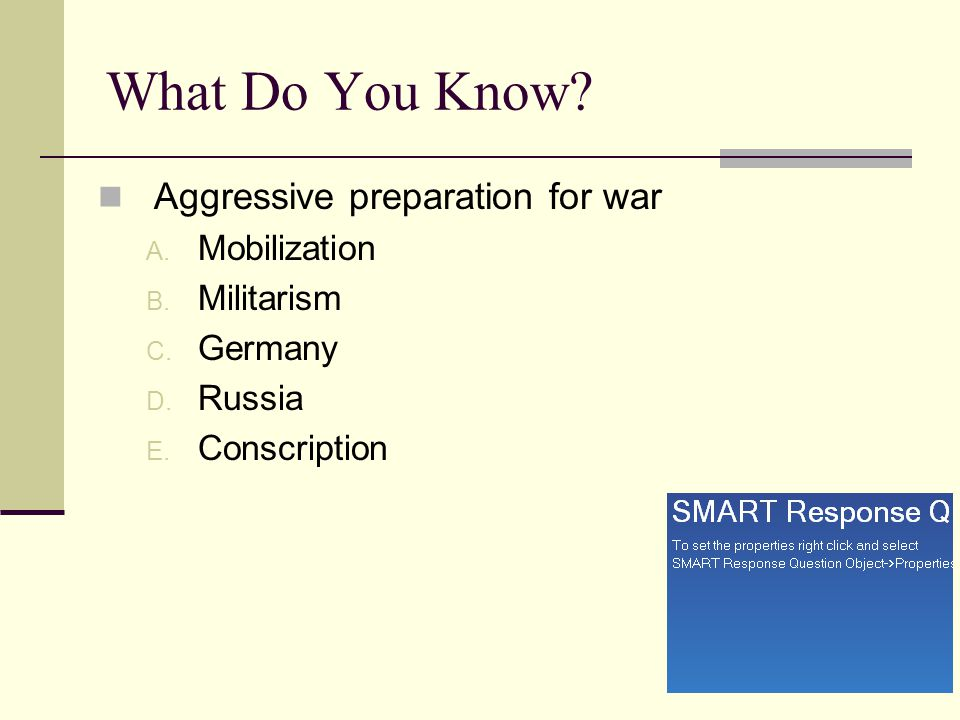 What Do You Know Aggressive preparation for war Mobilization