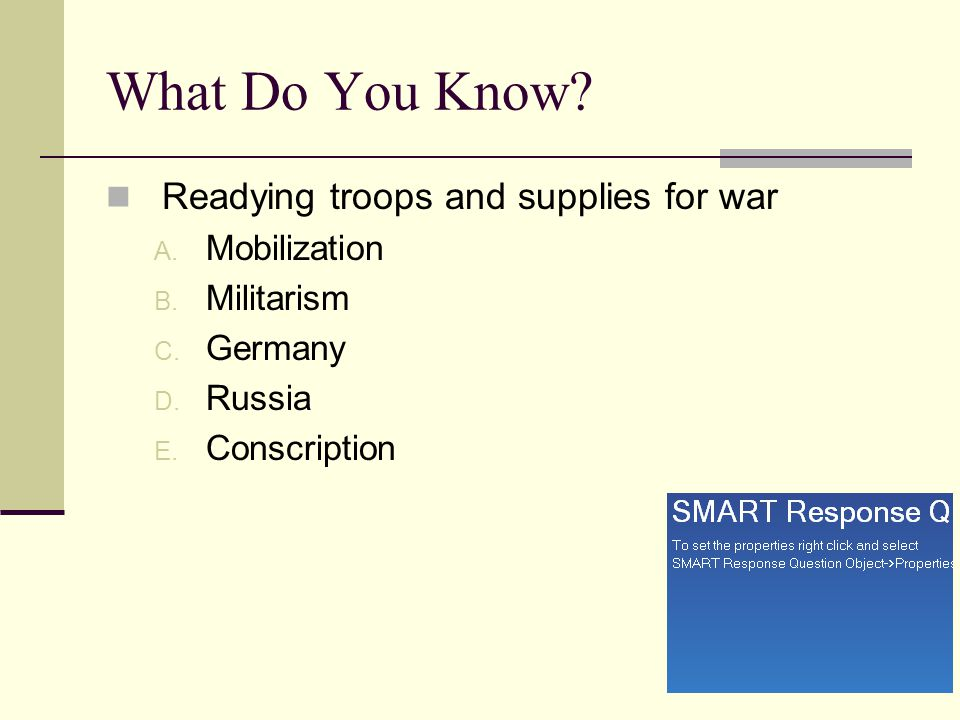 What Do You Know Readying troops and supplies for war Mobilization