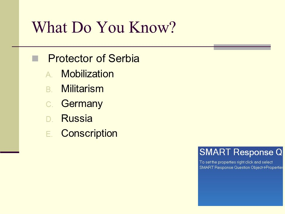 What Do You Know Protector of Serbia Mobilization Militarism Germany