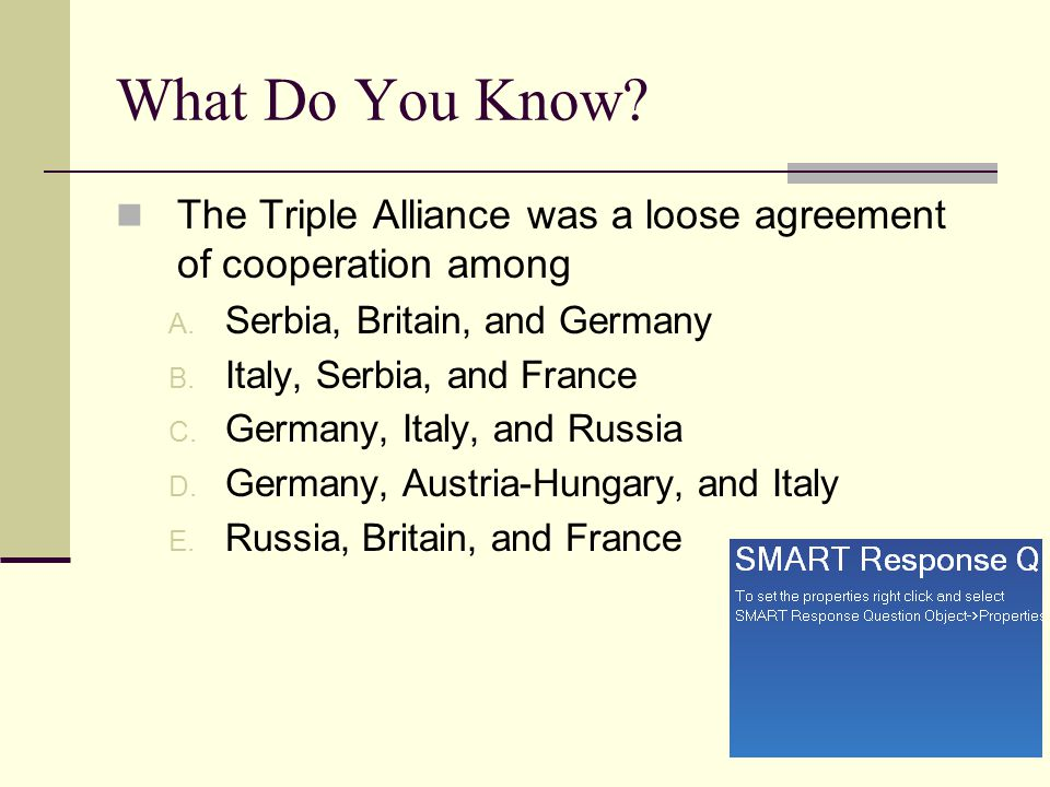 What Do You Know The Triple Alliance was a loose agreement of cooperation among. Serbia, Britain, and Germany.