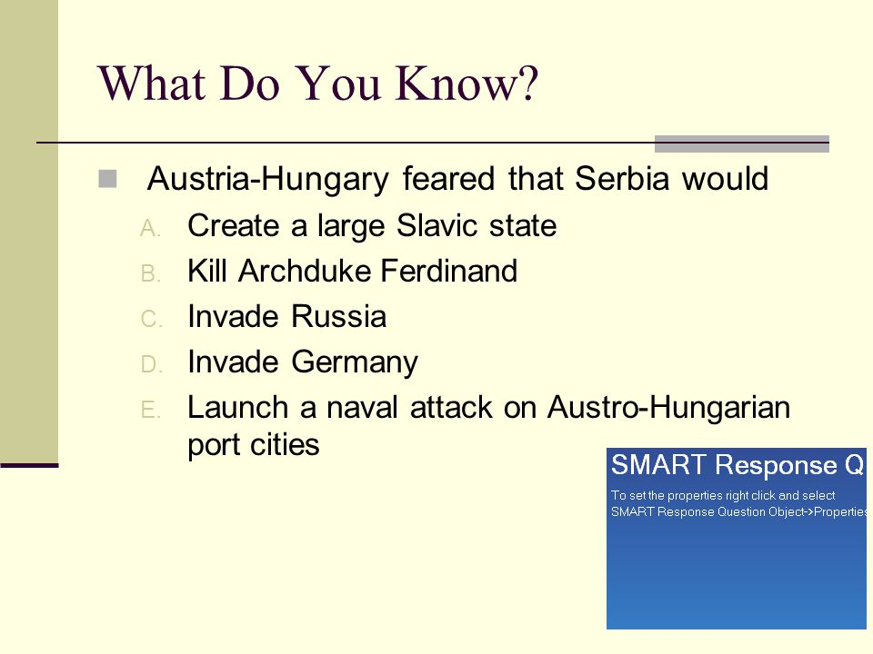 What Do You Know Austria-Hungary feared that Serbia would