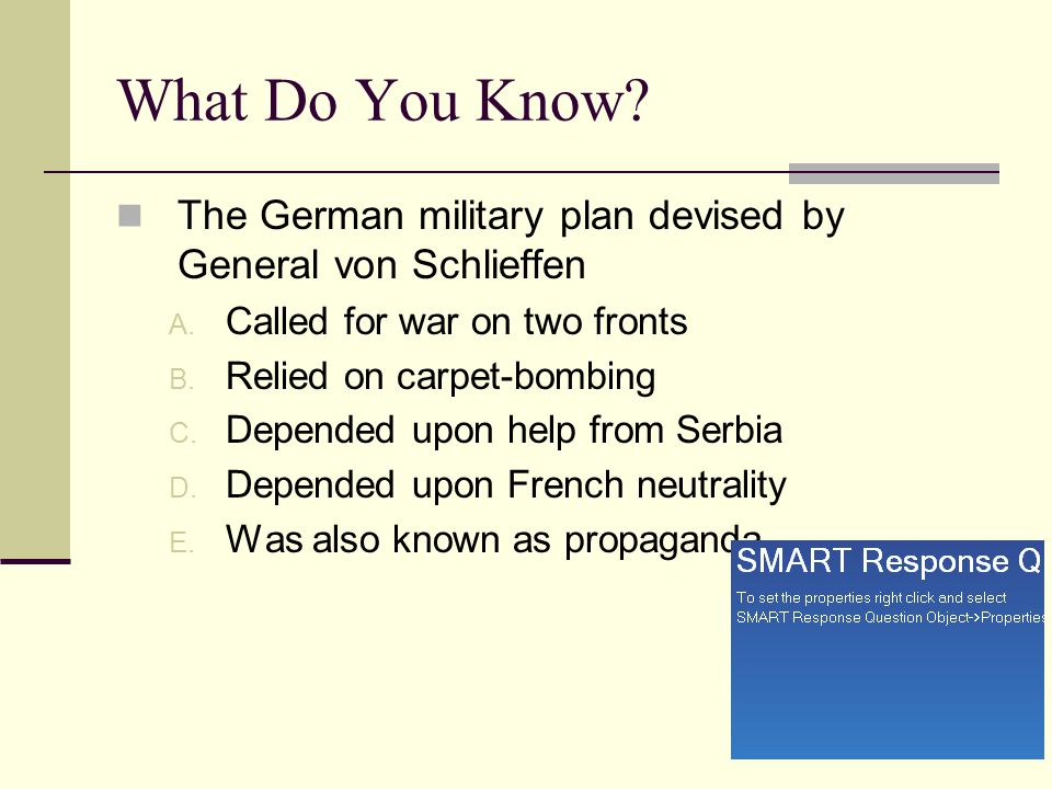 What Do You Know The German military plan devised by General von Schlieffen. Called for war on two fronts.