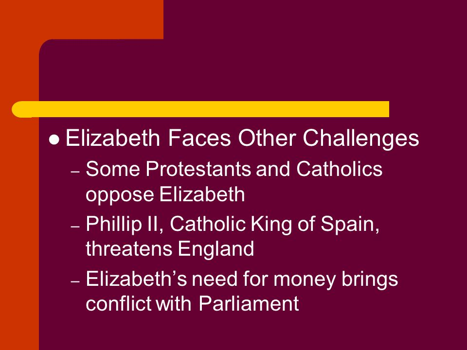 Elizabeth Faces Other Challenges