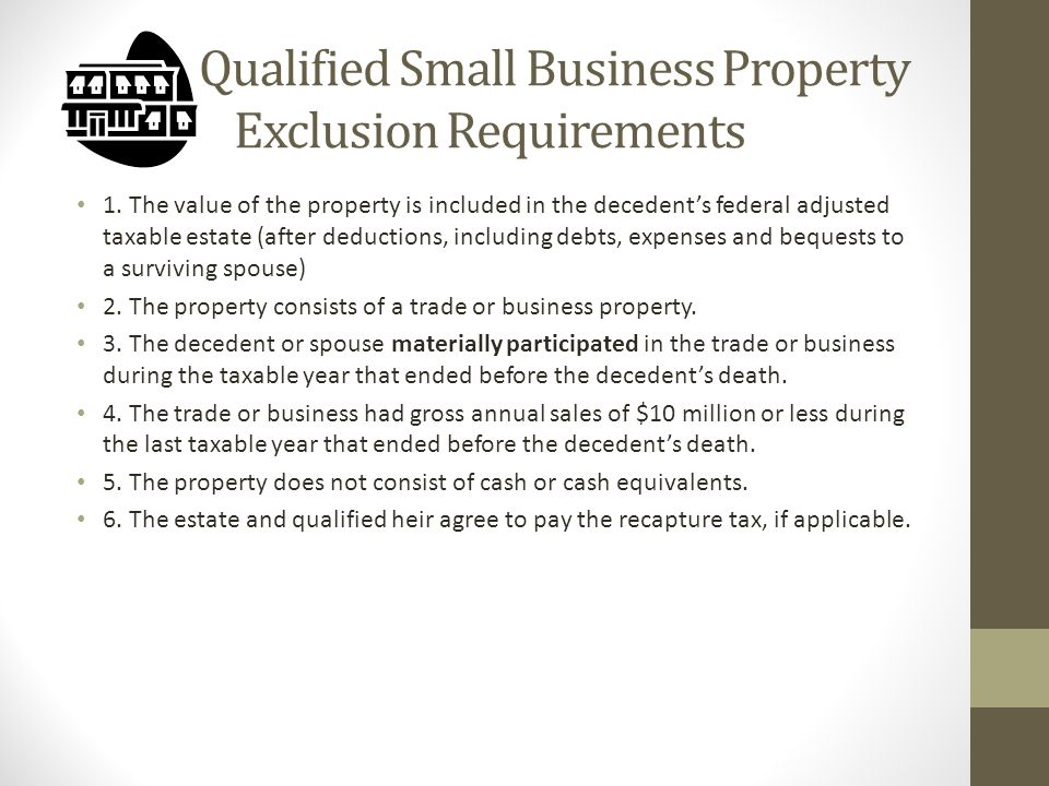 Qualified Small Business Property Exclusion Requirements