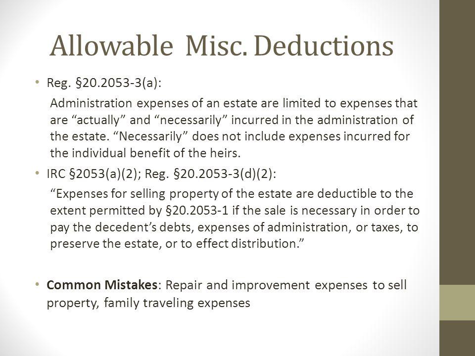 Allowable Misc. Deductions