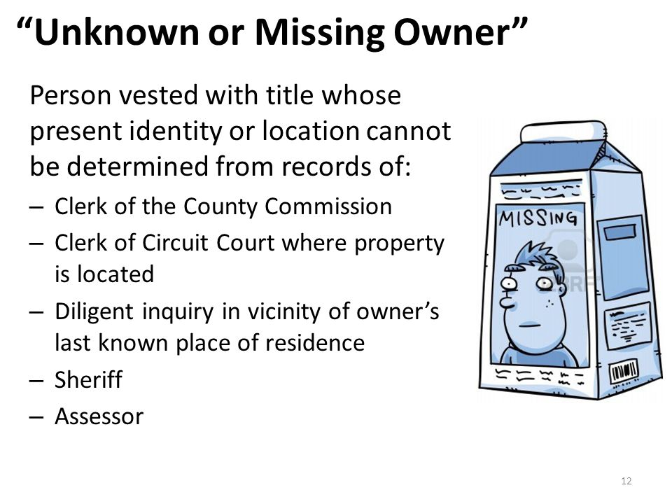 Unknown or Missing Owner