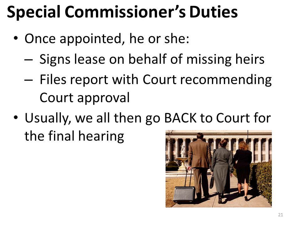 Special Commissioner's Duties