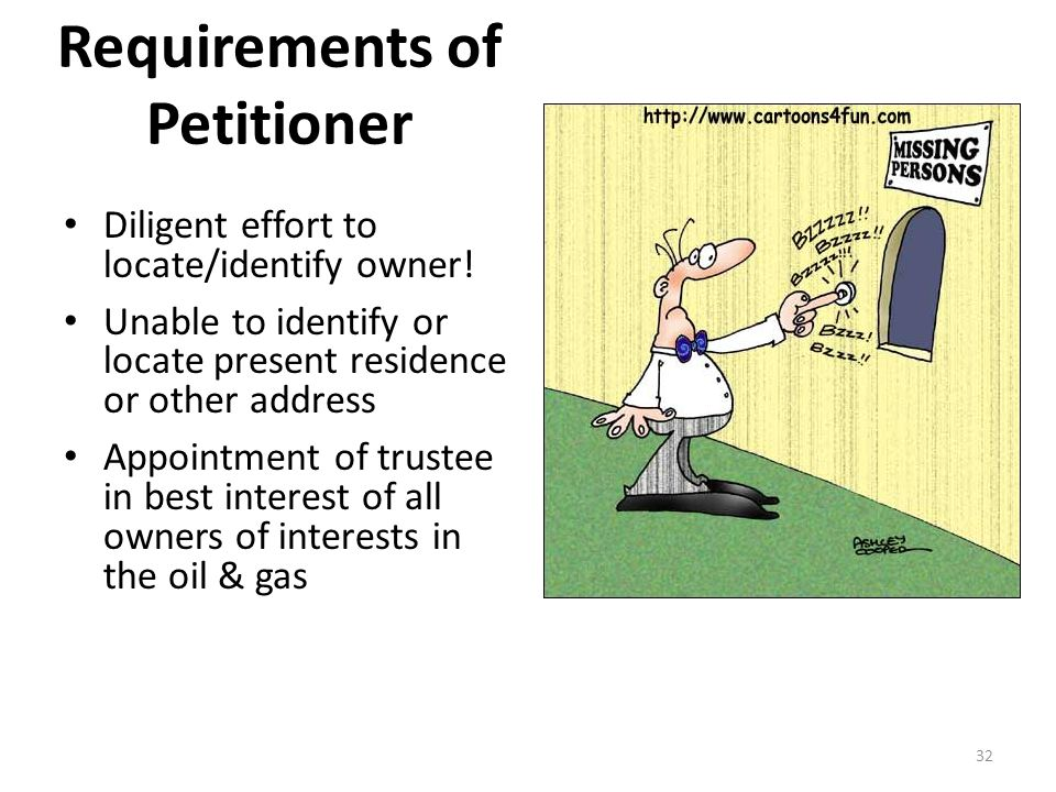 Requirements of Petitioner