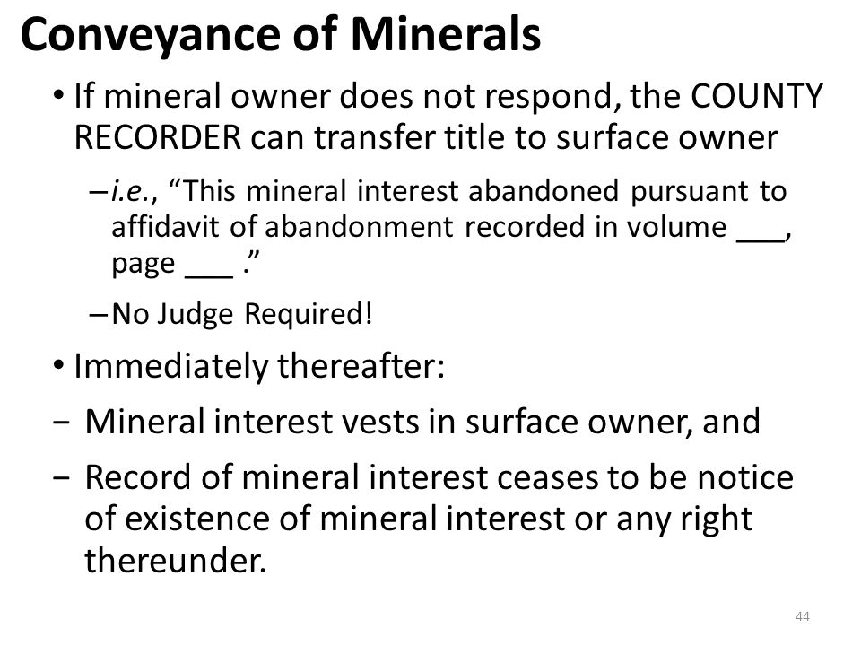Conveyance of Minerals