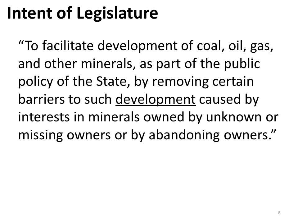 Intent of Legislature
