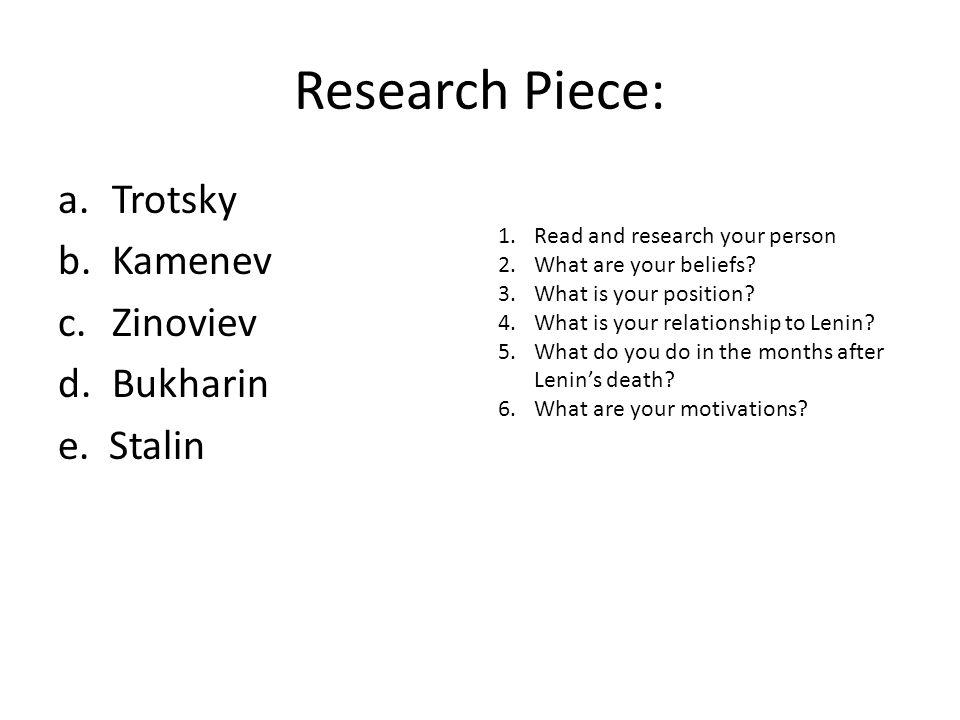 Research Piece: Trotsky Kamenev Zinoviev Bukharin e. Stalin