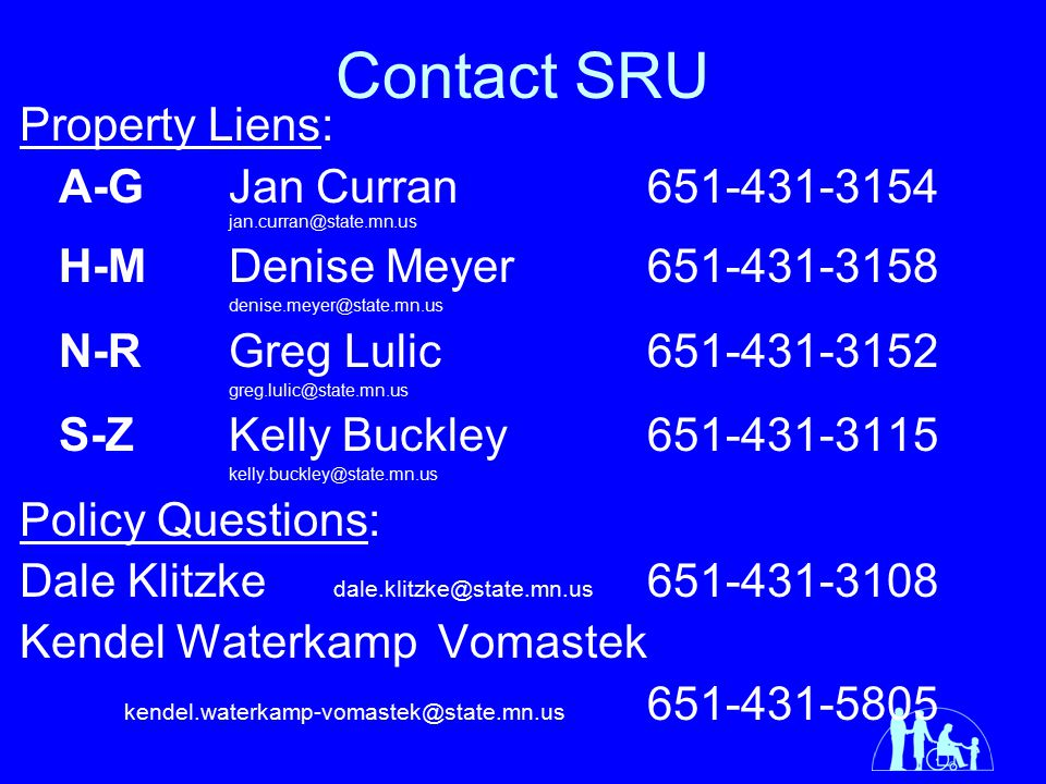Contact SRU Property Liens: