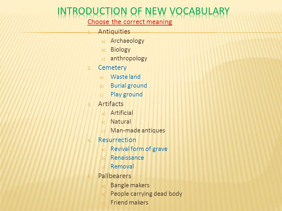 Introduction of New vocabulary