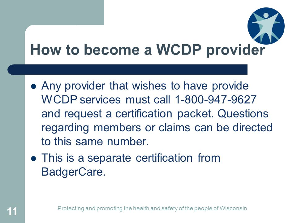 How to become a WCDP provider