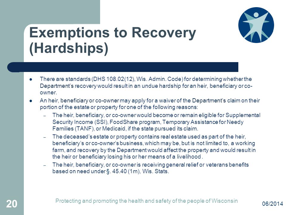 Exemptions to Recovery (Hardships)