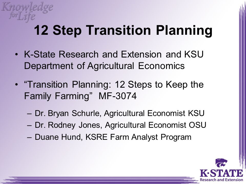 12 Step Transition Planning