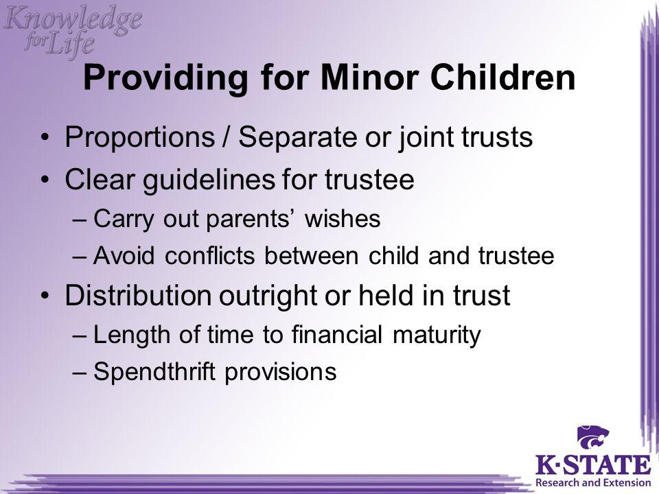 Providing for Minor Children