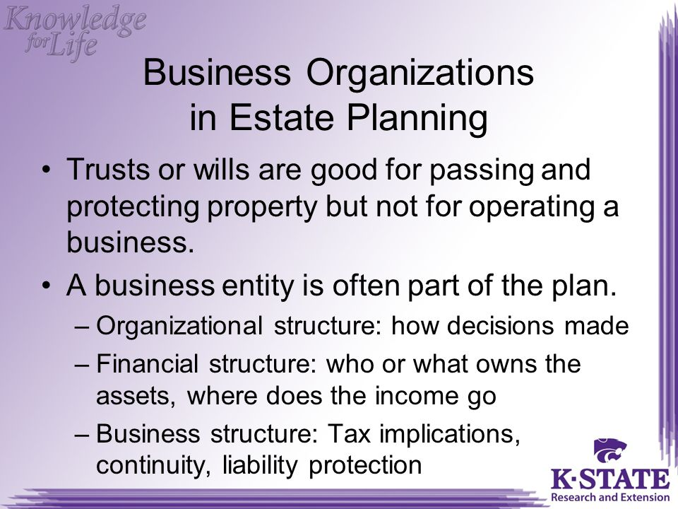 Business Organizations in Estate Planning